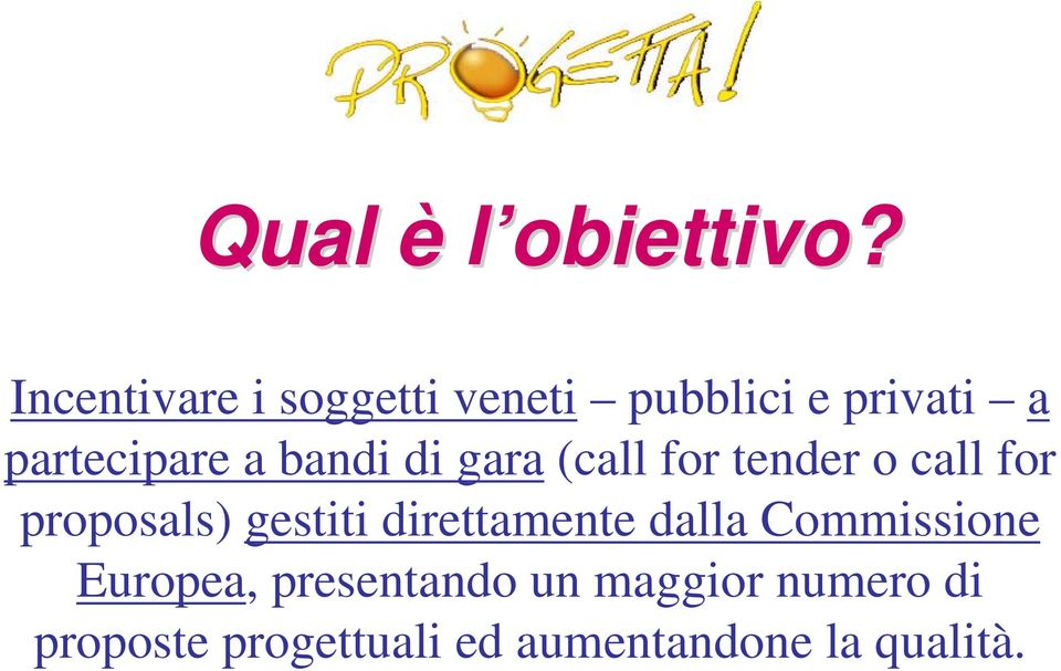 bandi di gara (call for tender o call for proposals) gestiti
