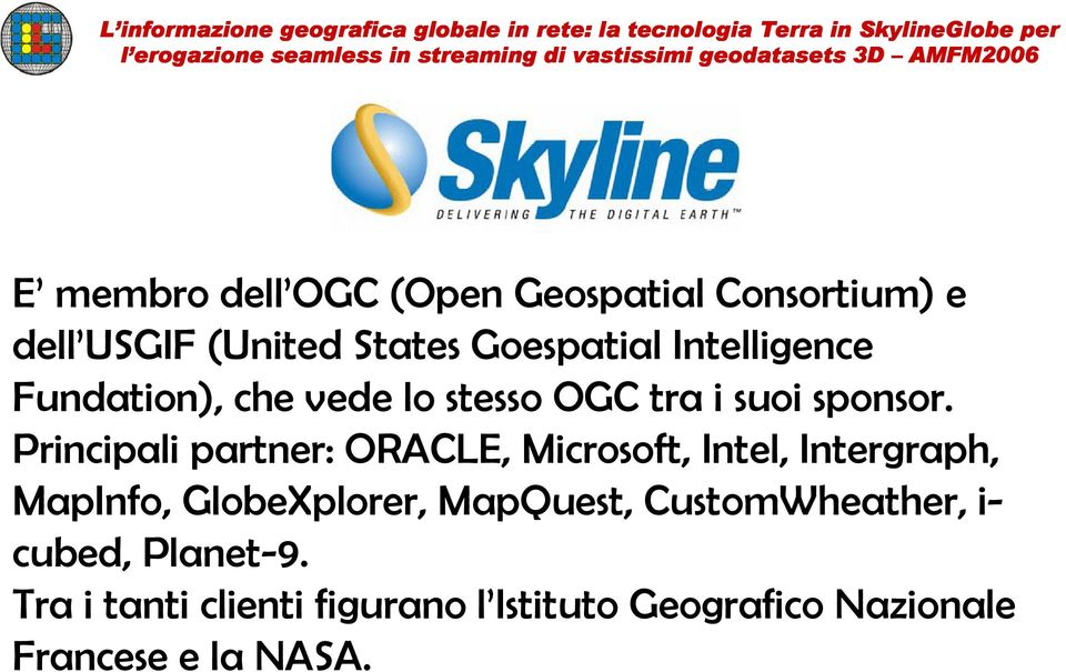 Principali partner: ORACLE, Microsoft, Intel, Intergraph, MapInfo, GlobeXplorer, MapQuest,