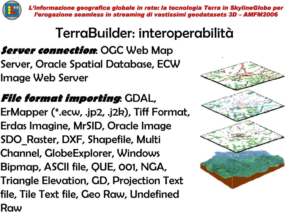 j2k), Tiff Format, Erdas Imagine, MrSID, Oracle Image SDO_Raster, DXF, Shapefile, Multi Channel,