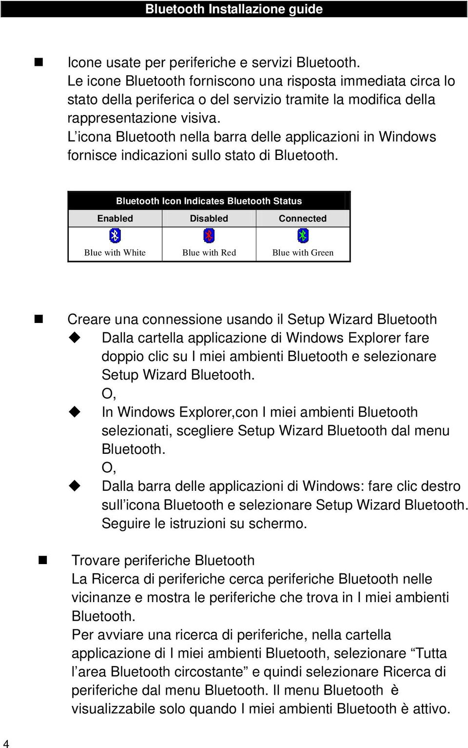Bluetooth Icon Indicates Bluetooth Status Enabled Disabled Connected Blue with White Blue with Red Blue with Green Creare una connessione usando il Setup Wizard Bluetooth Dalla cartella applicazione