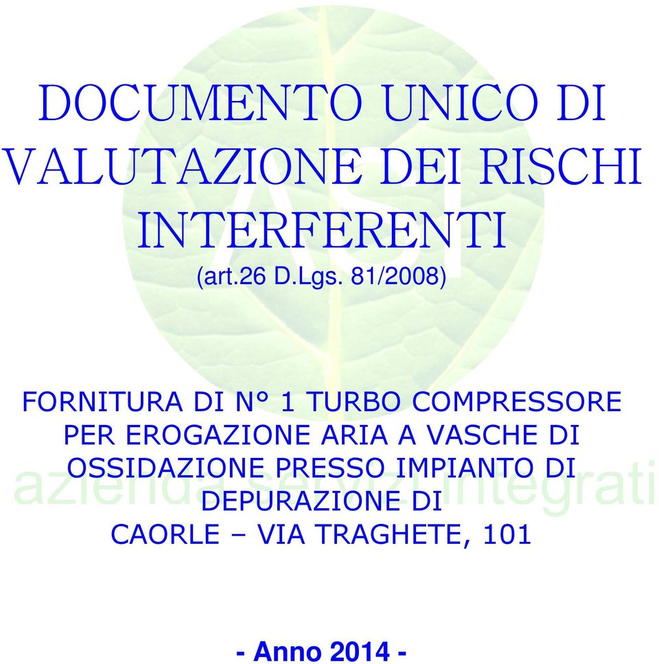 81/2008) FORNITURA DI N 1 TURBO COMPRESSORE PER