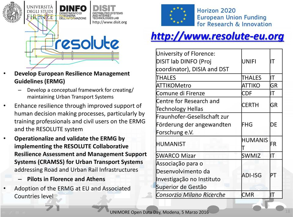 Assessment and Management Support Systems (CRAMSS) for Urban Transport Systems addressing Road and Urban Rail Infrastructures Pilots in Florence and Athens Adoption of the ERMG at EU and Associated