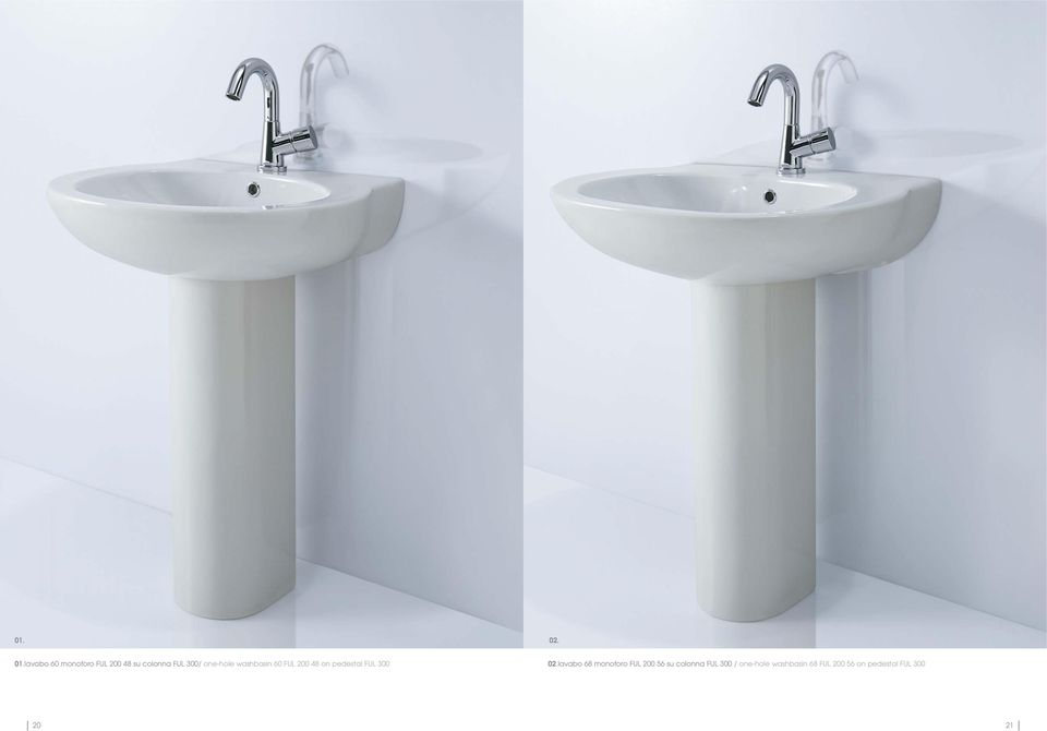 one-hole washbasin 60 FUL 200 48 on pedestal FUL 300 02.