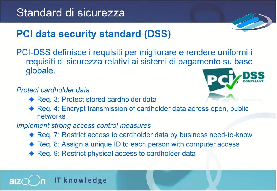 4: Encrypt transmission of cardholder data across open, public networks Implement strong access control measures Req.