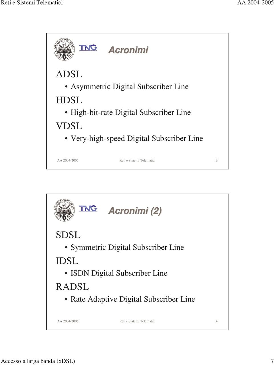 (2) SDSL Symmetric Digital Subscriber Line IDSL ISDN Digital Subscriber Line RADSL Rate