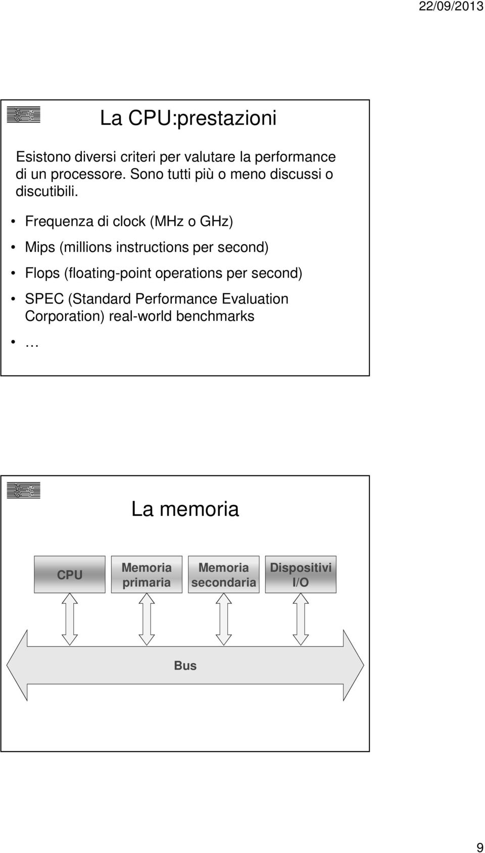 Frequenza di clock (MHz o GHz) Mips (millions instructions per second) Flops (floating-point