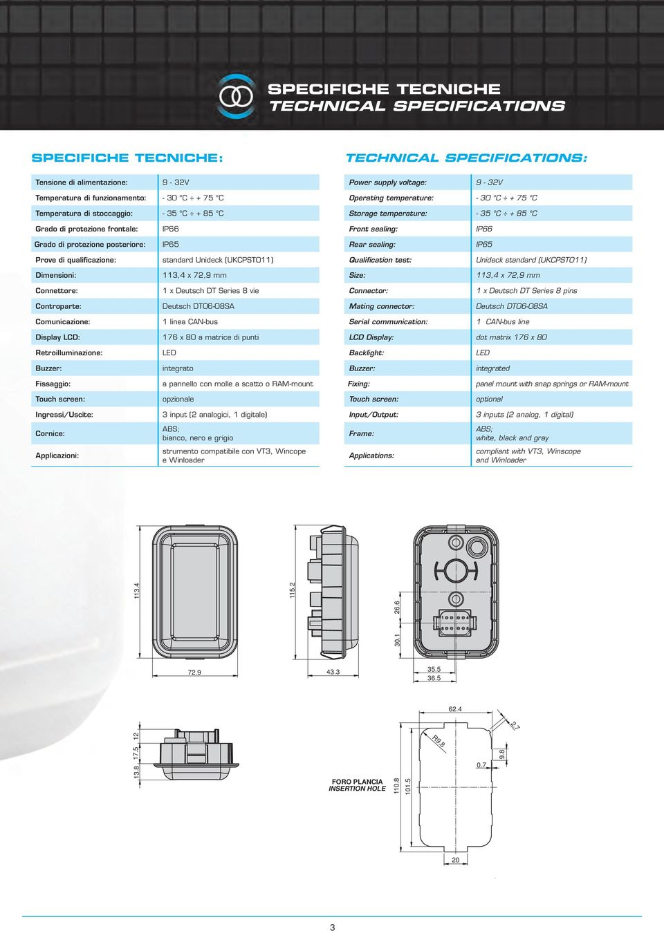 IP65 Rear sealing: IP65 Prove di qualificazione: standard Unideck (UKCPST011) Qualification test: Unideck standard (UKCPST011) Dimensioni: 113,4 x 72,9 mm Size: 113,4 x 72,9 mm Connettore: 1 x