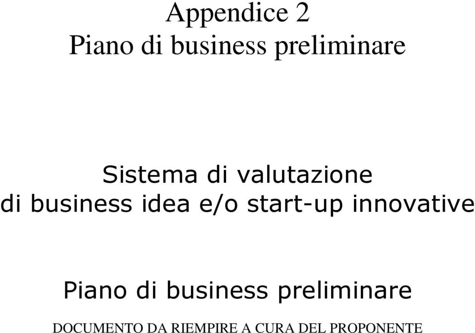 start-up innovative Piano di business