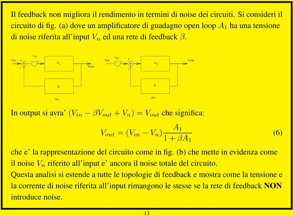 Vn Vn A 1 A 1 β β (a) (b) In output si avra (V in βv out V n ) = V out che significa: V out = (V in V n ) A 1 1 βa 1 (6) che e la rappresentazione del circuito come in fig.