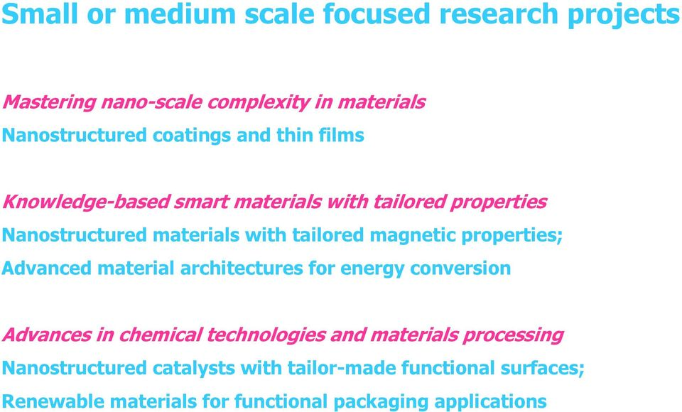 properties; Advanced material architectures for energy conversion Advances in chemical technologies and materials