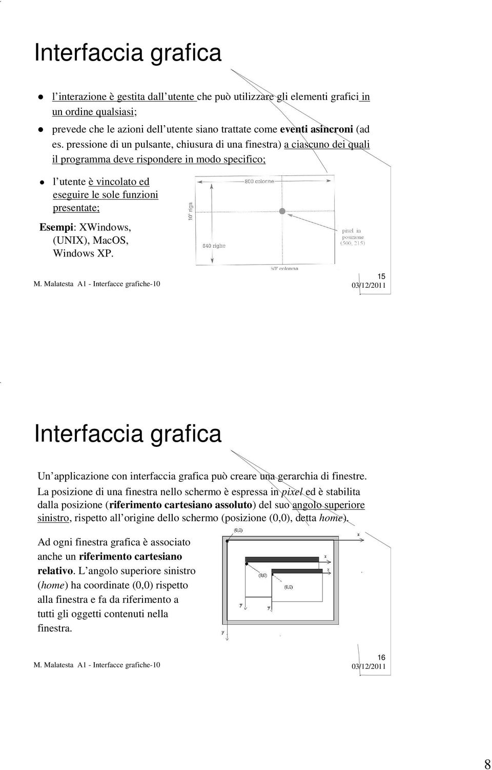 XWindows, (UNIX), MacOS, Windows XP. 15 Interfaccia grafica Un applicazione con interfaccia grafica può creare una gerarchia di finestre.
