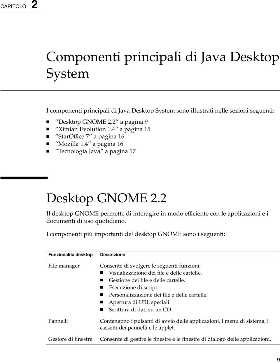 2 Il desktop GNOME permette di interagire in modo efficiente con le applicazioni e i documenti di uso quotidiano.