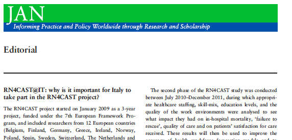 Sasso, L., Bagnasco, A., Zanini, M., Catania, G., Aleo, G., Santullo, A.,... & Sermeus, W. (2015). RN4CAST@ IT: why is it important for Italy to take part in the RN4CAST project?