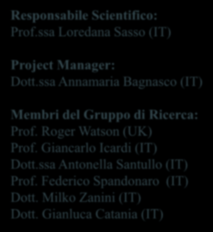 Responsabile Scientifico: Prof.ssa Loredana Sasso (IT) Project Manager: Dott.ssa Annamaria Bagnasco (IT) Membri del Gruppo di Ricerca: Prof.