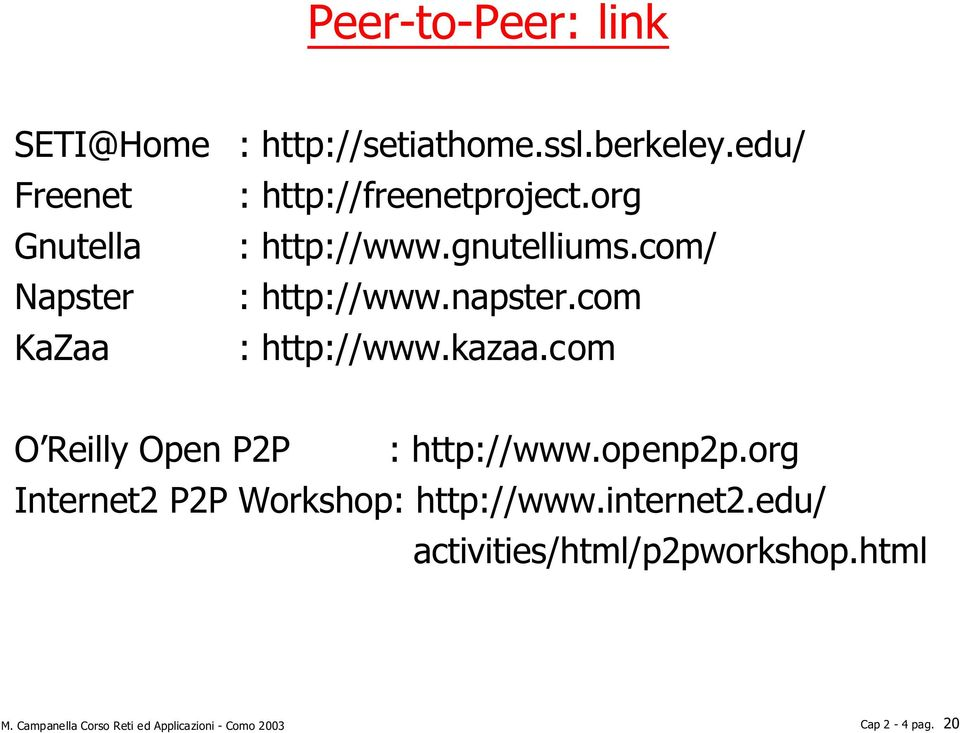 kazaa.com O Reilly Open P2P : http://www.openp2p.org Internet2 P2P Workshop: http://www.internet2.