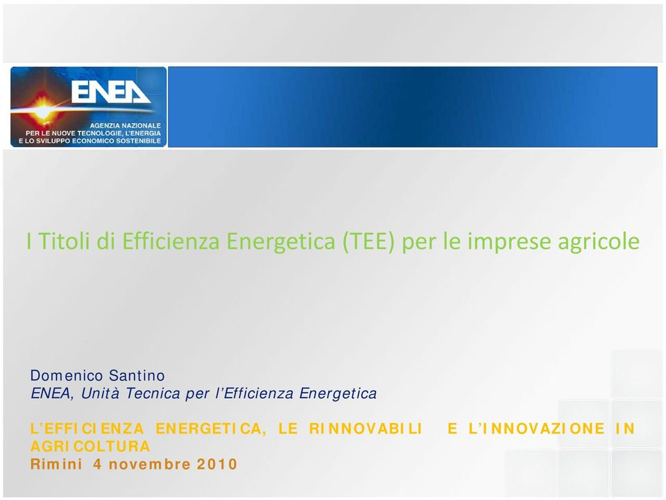 Efficienza Energetica L EFFICIENZA ENERGETICA, LE