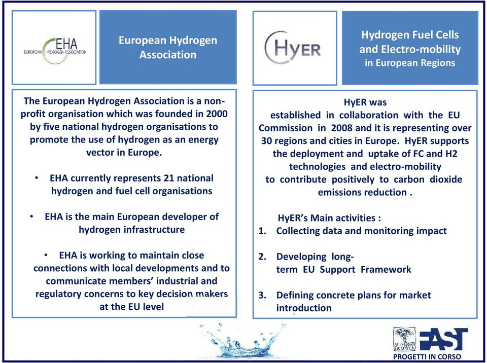 EHA currently represents 21 national hydrogen and fuel cell organisations EHA is the main European developer of hydrogen infrastructure EHA is working to maintain close connections with local