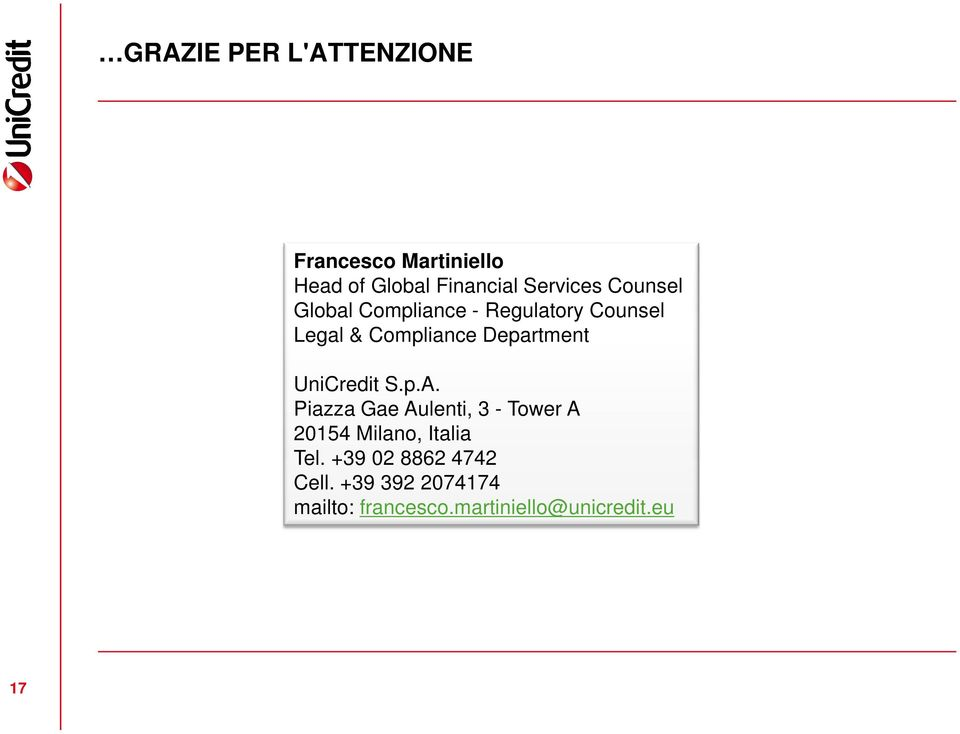 Department UniCredit S.p.A.