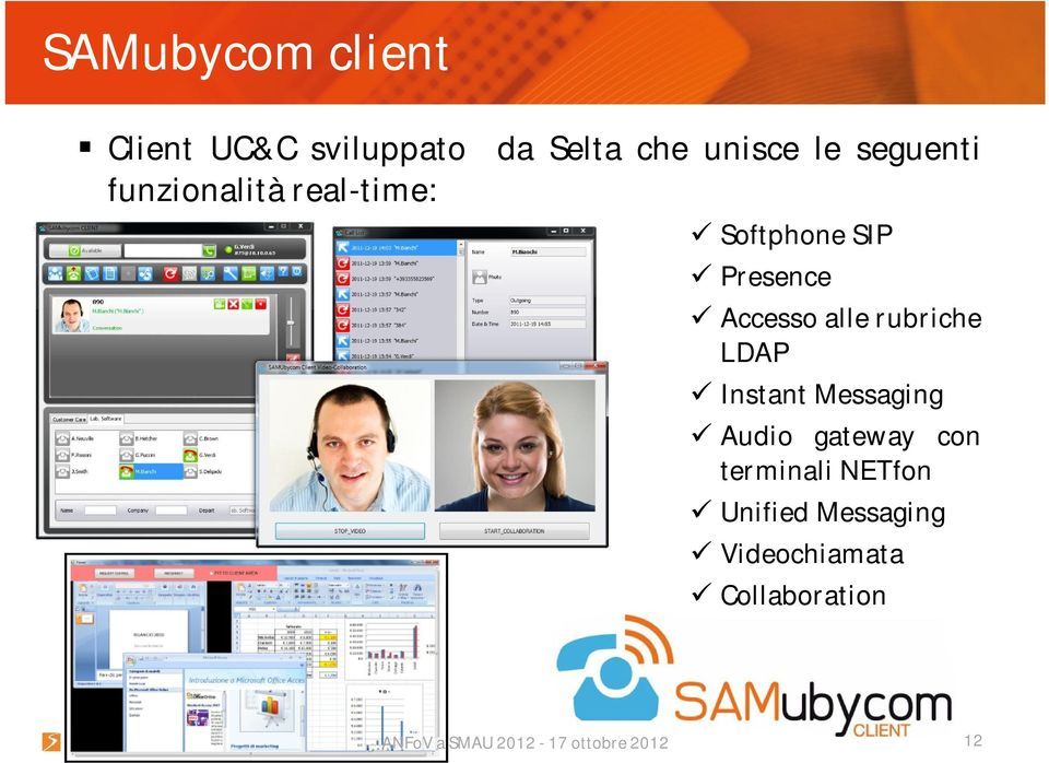 Presence Accesso alle rubriche LDAP Instant Messaging Audio
