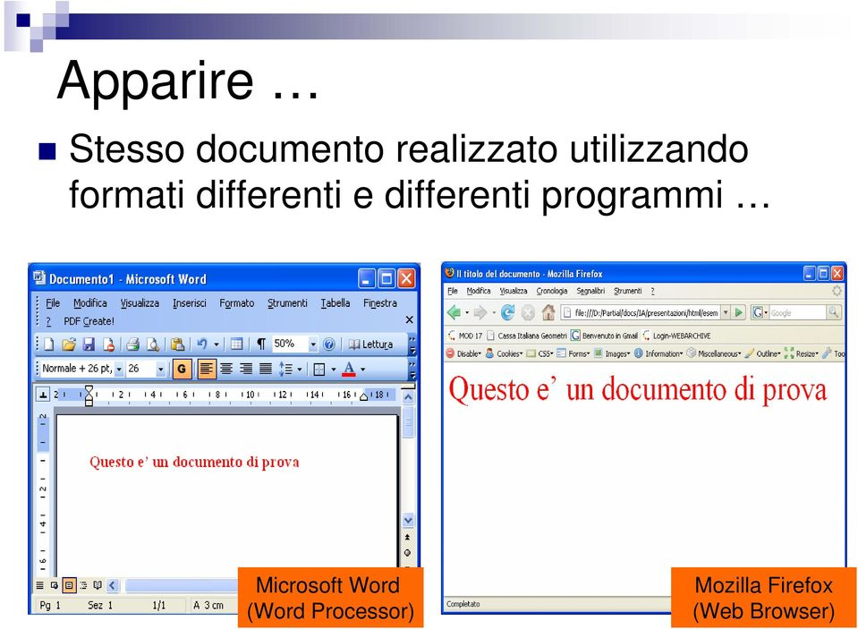 differenti programmi Microsoft Word