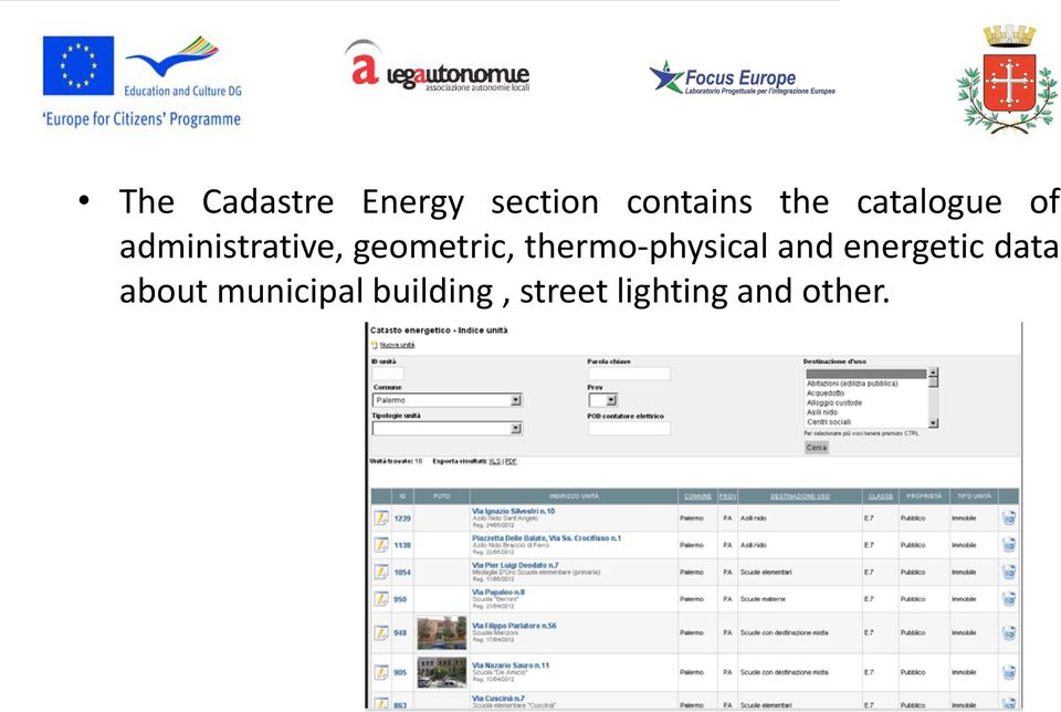 thermo-physical and energetic data about