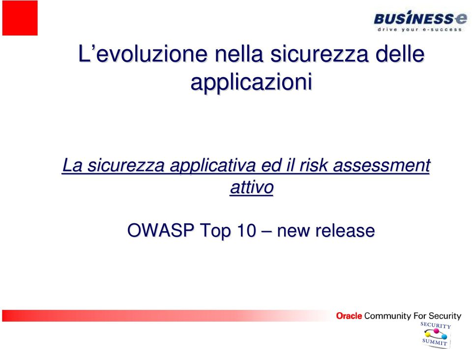 applicativa ed il risk