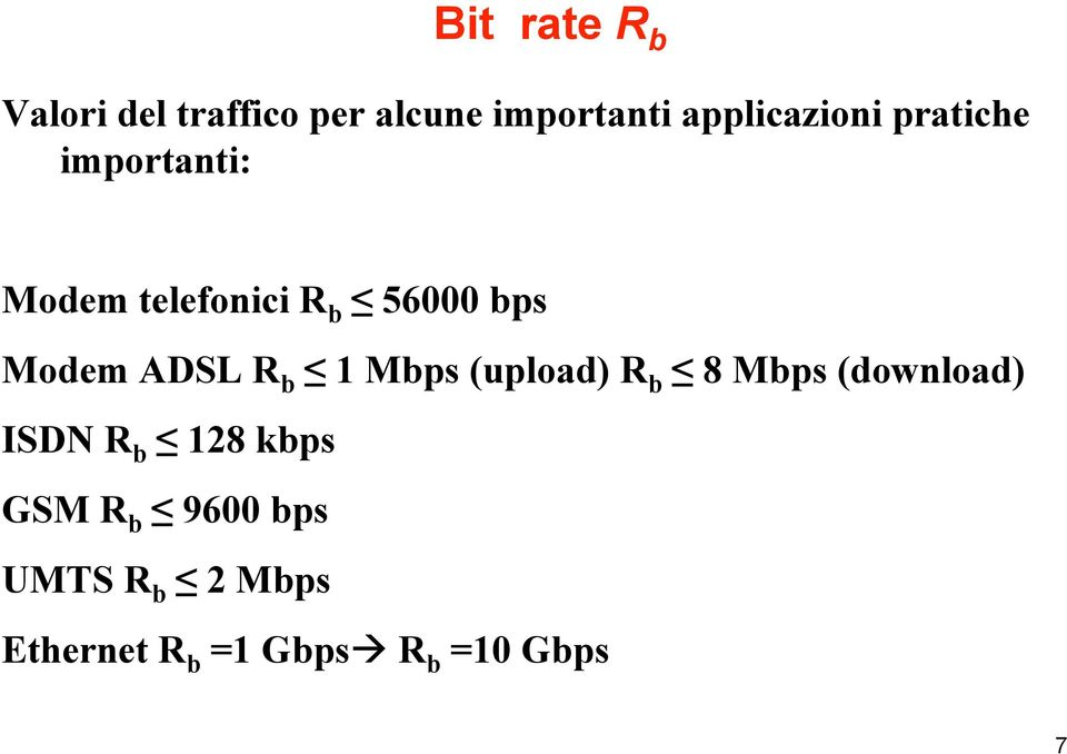 Modem ADSL R b 1 Mbps (upload) R b 8 Mbps (download) ISDN R b