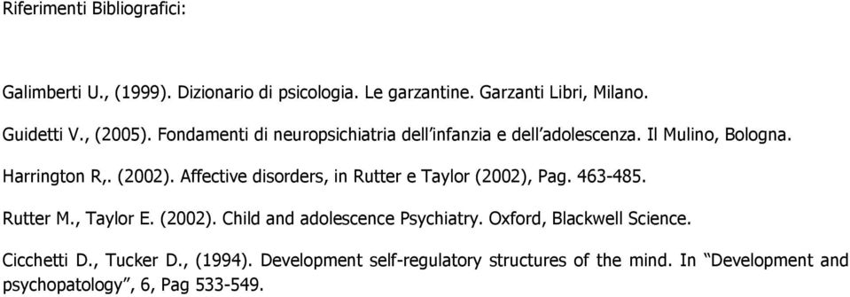 Affective disorders, in Rutter e Taylor (2002), Pag. 463-485. Rutter M., Taylor E. (2002). Child and adolescence Psychiatry.