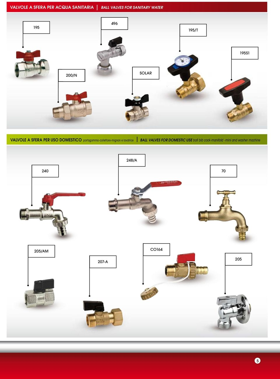 portagomma-collettore-mignon e lavatrice BALL VALVES FOR DOMESTIC USE