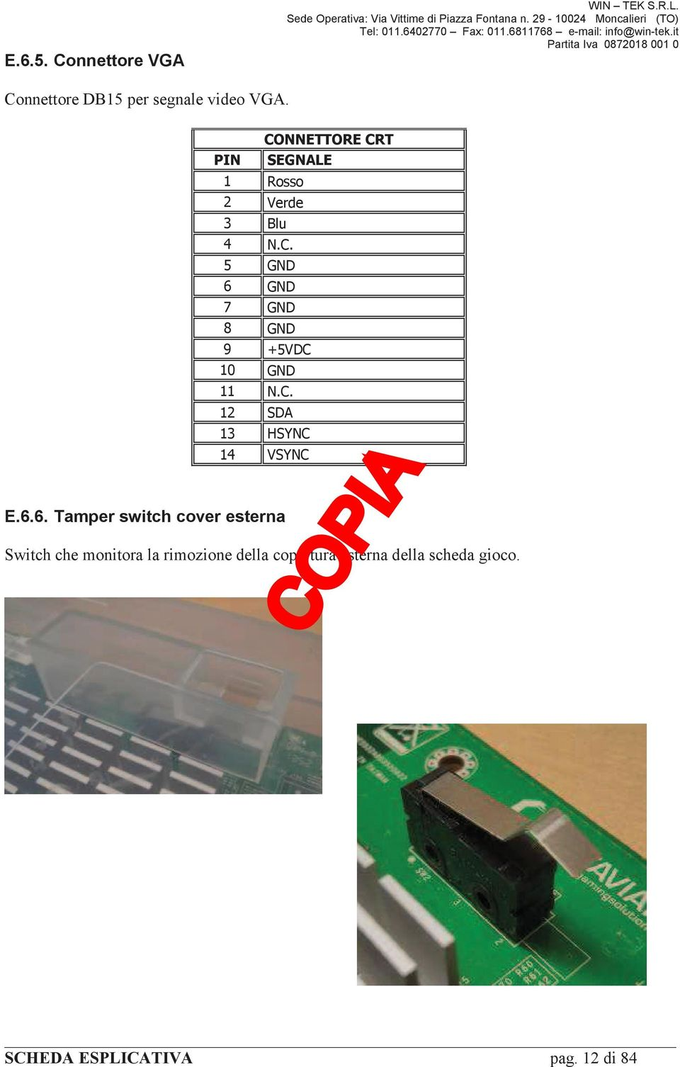 6. Tamper switch cover esterna!