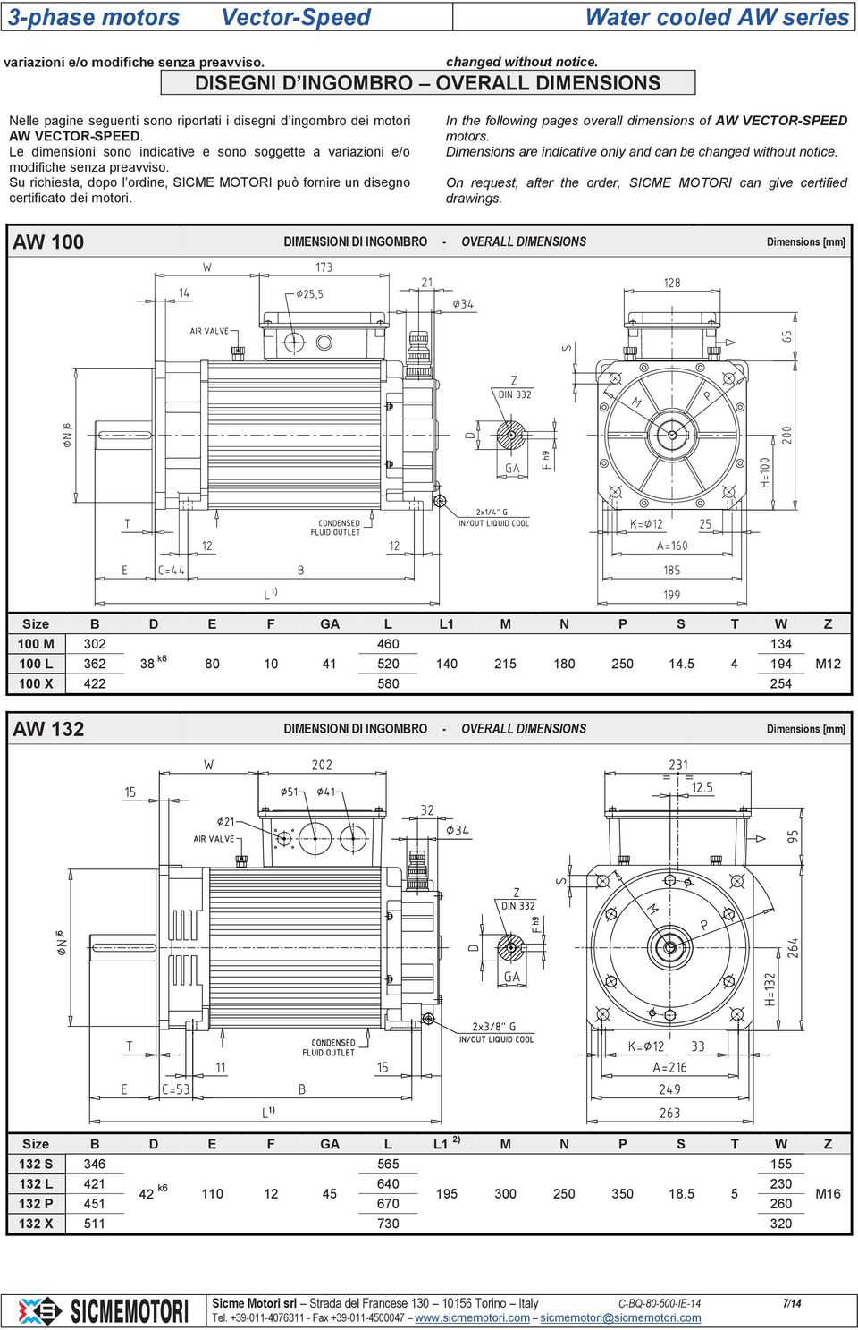 In the following pages overall dimensions of AW VECTOR-SPEED motors. Dimensions are indicative only and can be changed without notice.