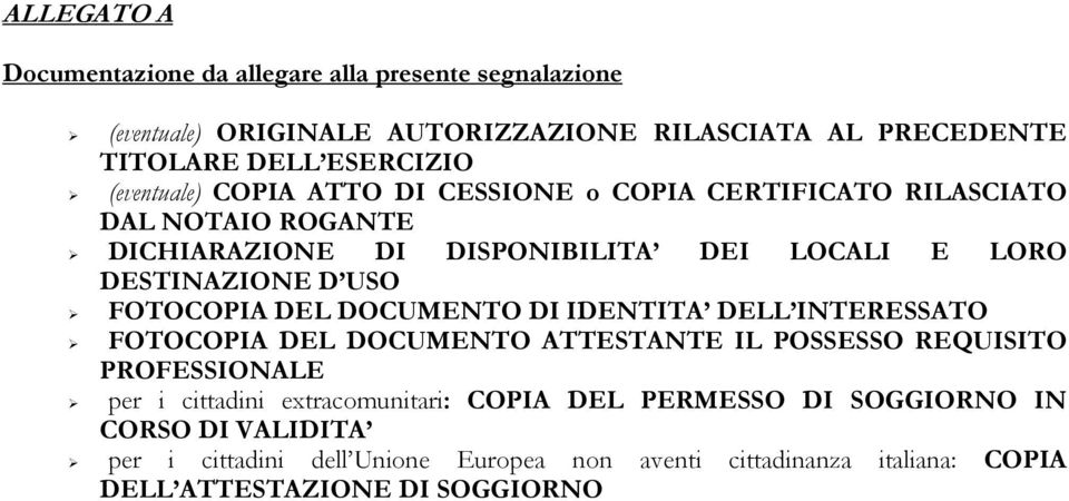 FOTOCOPIA DEL DOCUMENTO DI IDENTITA DELL INTERESSATO FOTOCOPIA DEL DOCUMENTO ATTESTANTE IL POSSESSO REQUISITO PROFESSIONALE per i cittadini