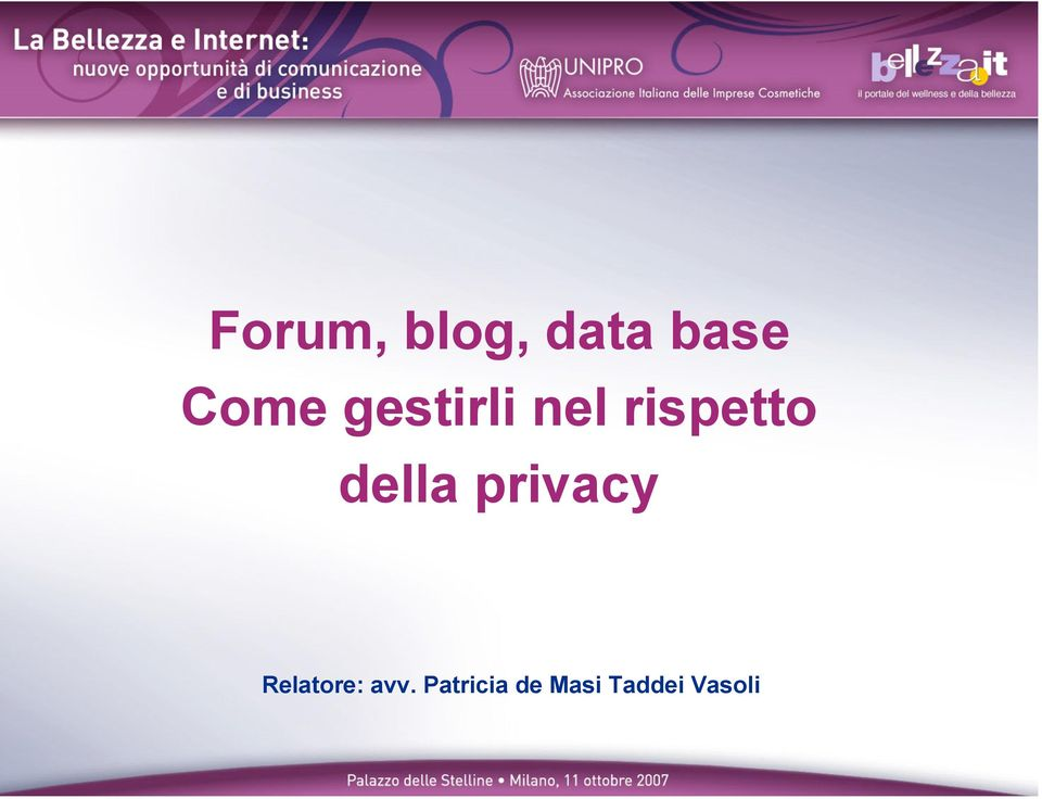 privacy Relatore: avv.