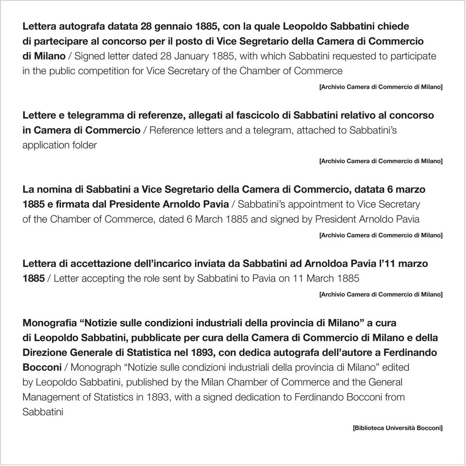 Sabbatini relativo al concorso in Camera di Commercio / Reference letters and a telegram, attached to Sabbatini s application folder La nomina di Sabbatini a Vice Segretario della Camera di