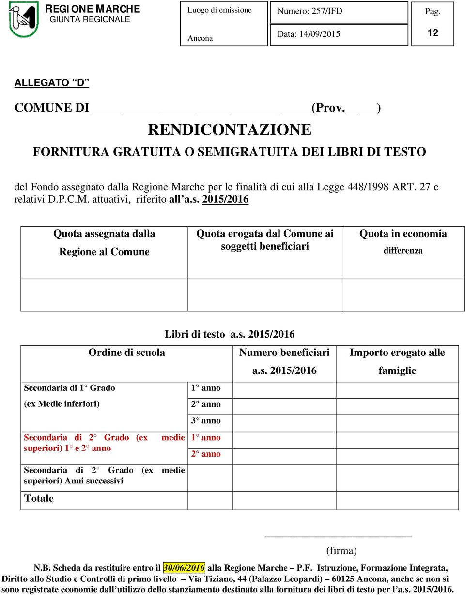 2015/2016 Quota assegnata dalla Regione al Comune Quota erogata dal Comune ai soggetti beneficiari Quota in economia differenza Secondaria di 1 Grado (ex Medie inferiori) Secondaria di 2 Grado (ex