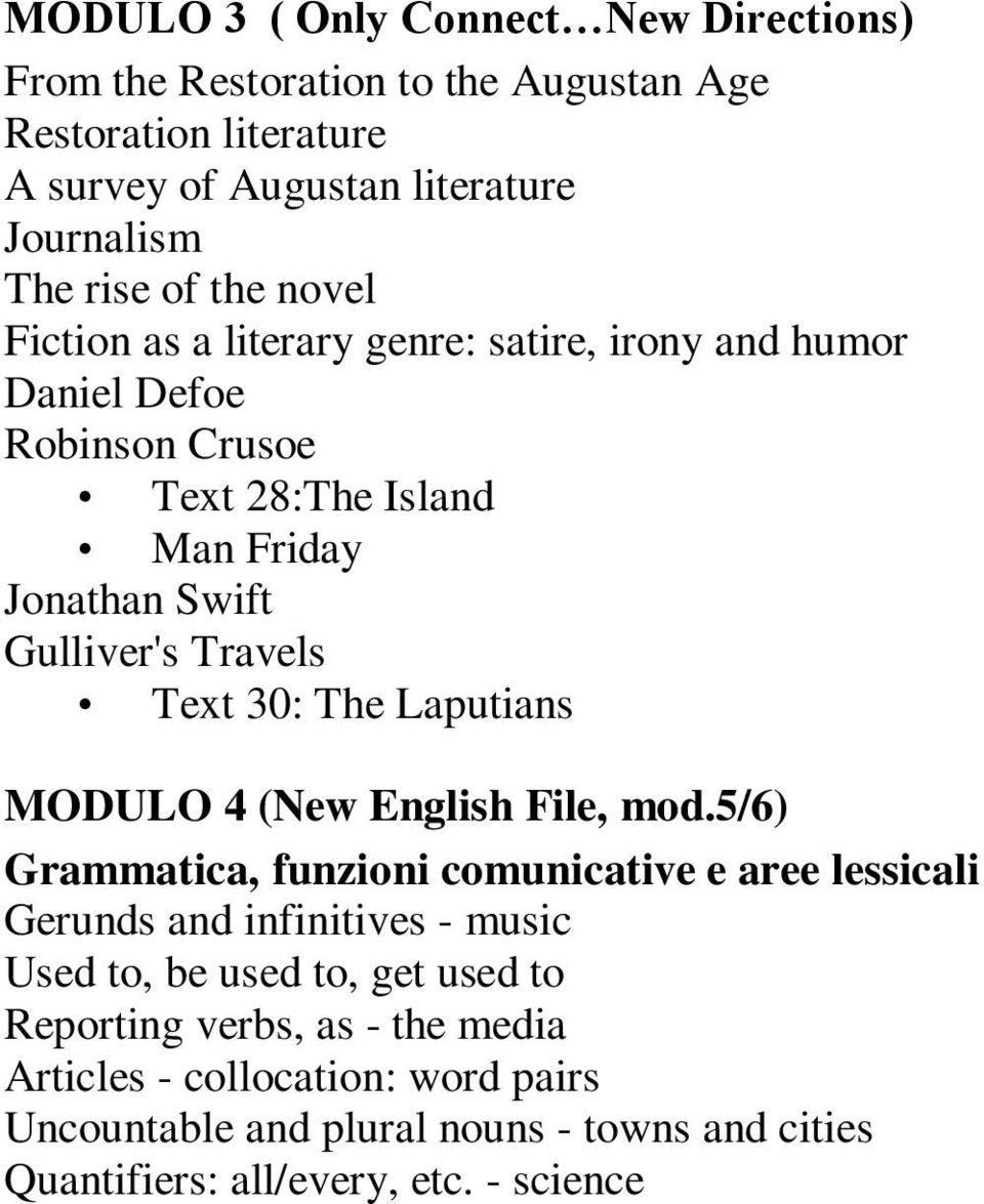 Text 30: The Laputians MODULO 4 (New English File, mod.