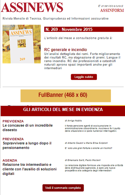 ASSINEWSletter Dal lunedì al venerdì, la newsletter quotidiana tratta da ASSINEWS.