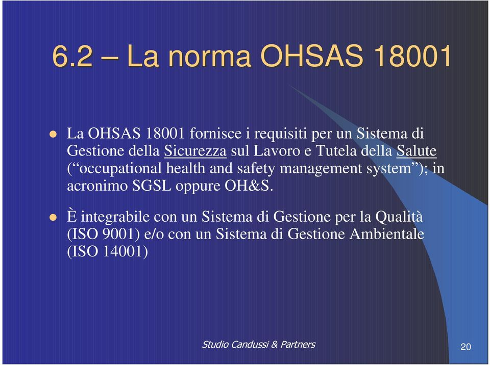 safety management system ); in acronimo SGSL oppure OH&S.