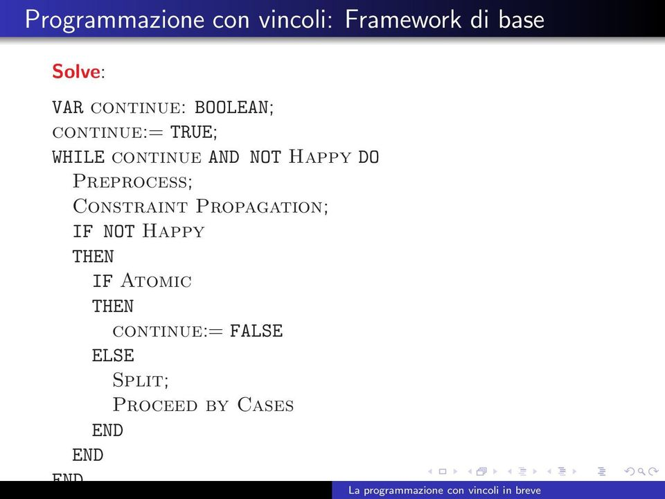 Happy DO Preprocess; Constraint Propagation; IF NOT Happy THEN