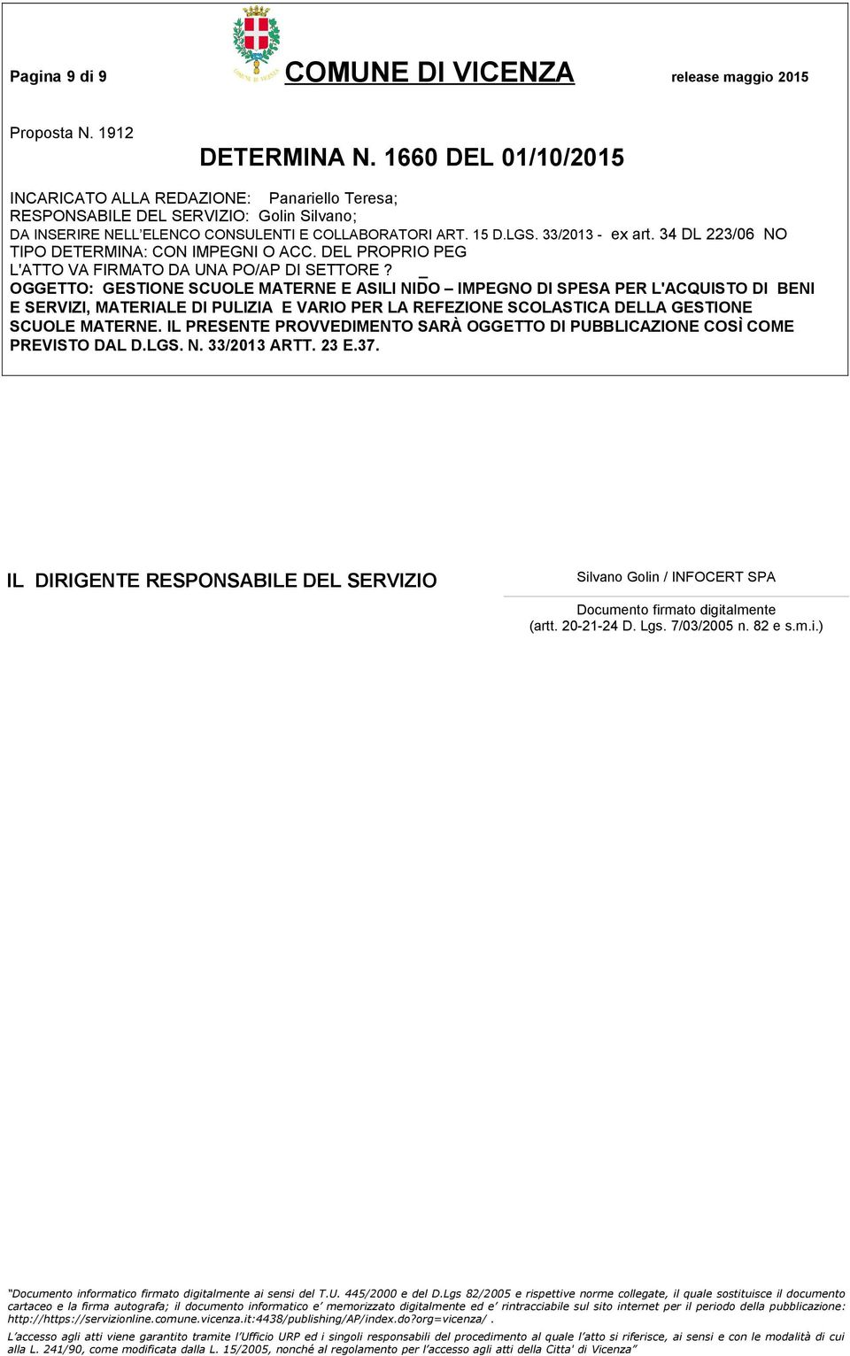 Silvano Golin / INFOCERT SPA Documento firmato