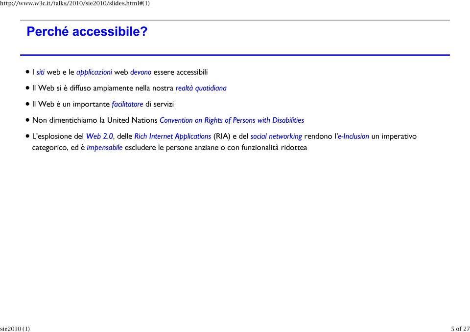 on Rights of Persons with Disabilities L'esplosione del Web 2.