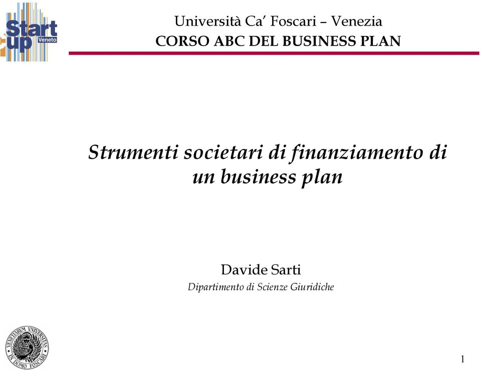 finanziamento di un business plan Davide