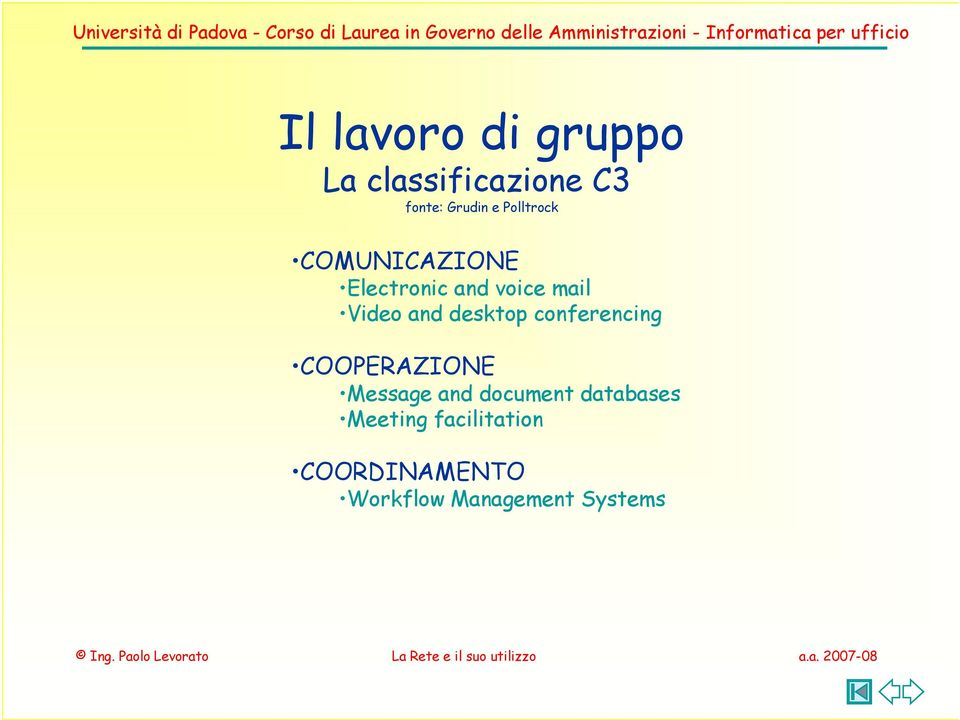desktop conferencing COOPERAZIONE Message and document
