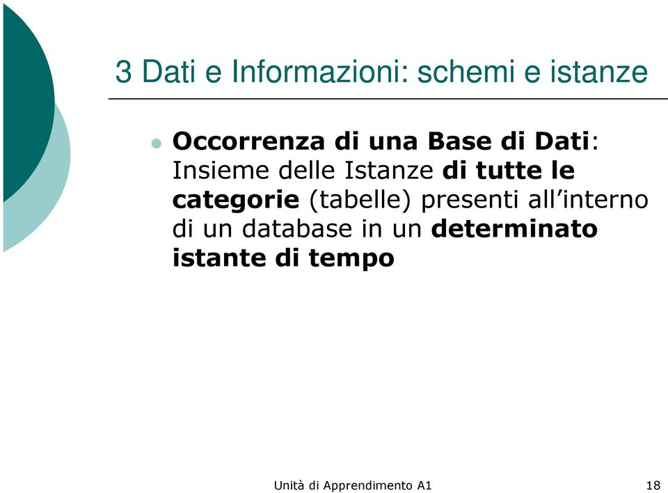 categorie (tabelle) presenti all interno di un database