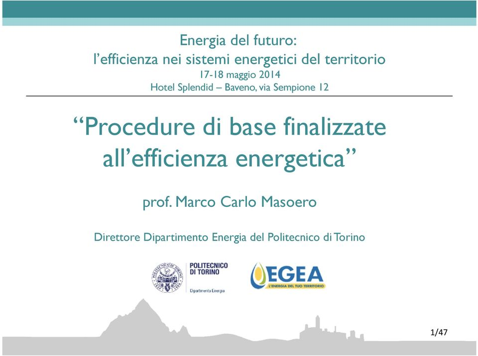Procedure di base finalizzate all efficienza energetica prof.