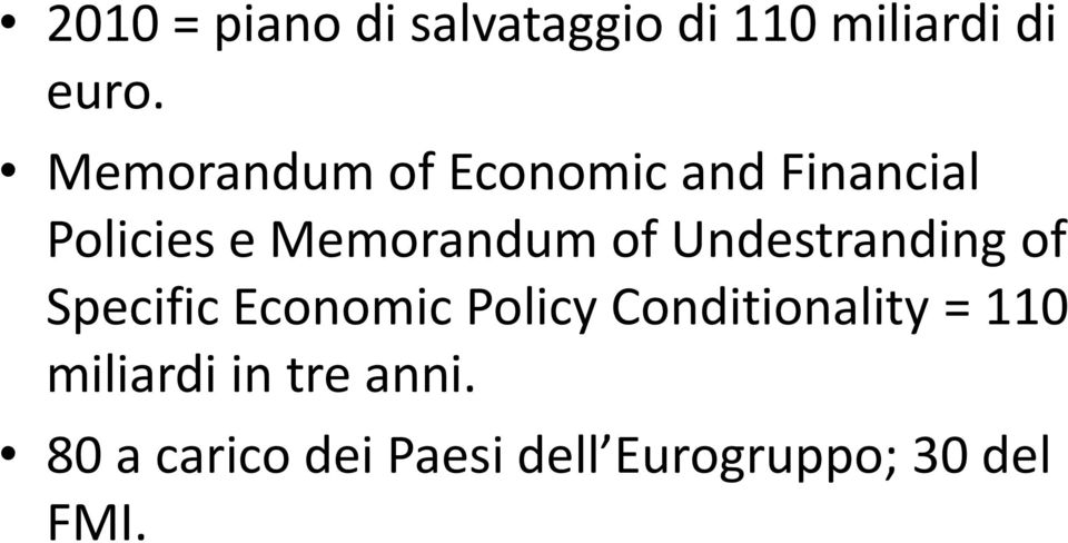 Undestranding of Specific Economic Policy Conditionality = 110