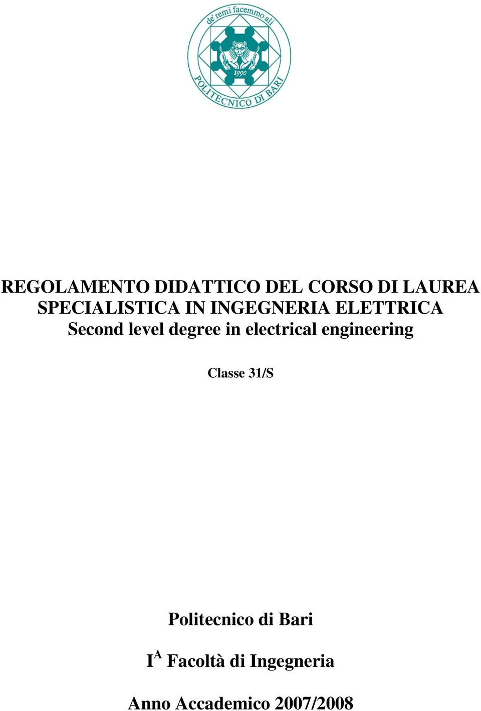 degree in electrical engineering Classe 31/S