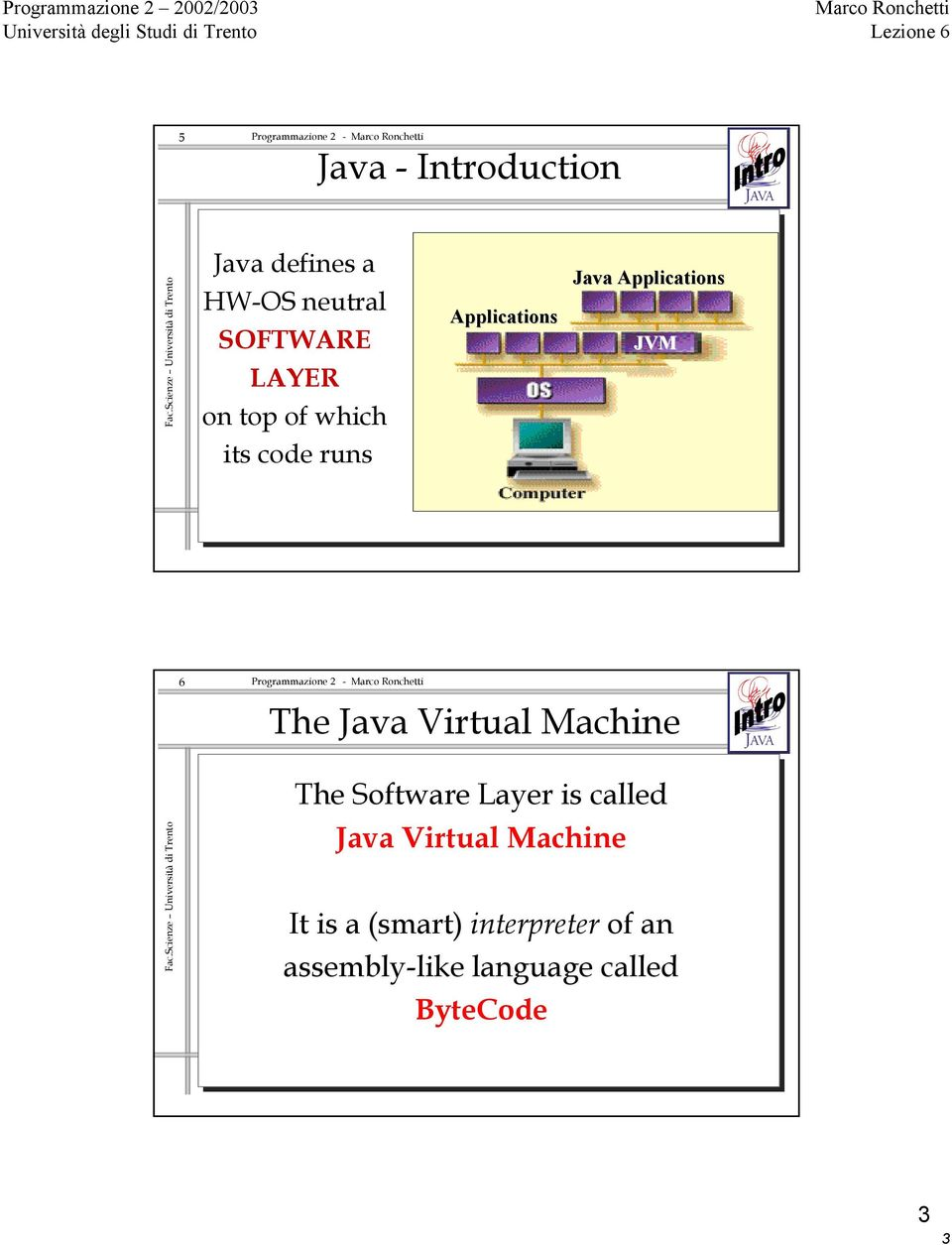 Java Virtual Machine The Software Layer is called Java Virtual Machine