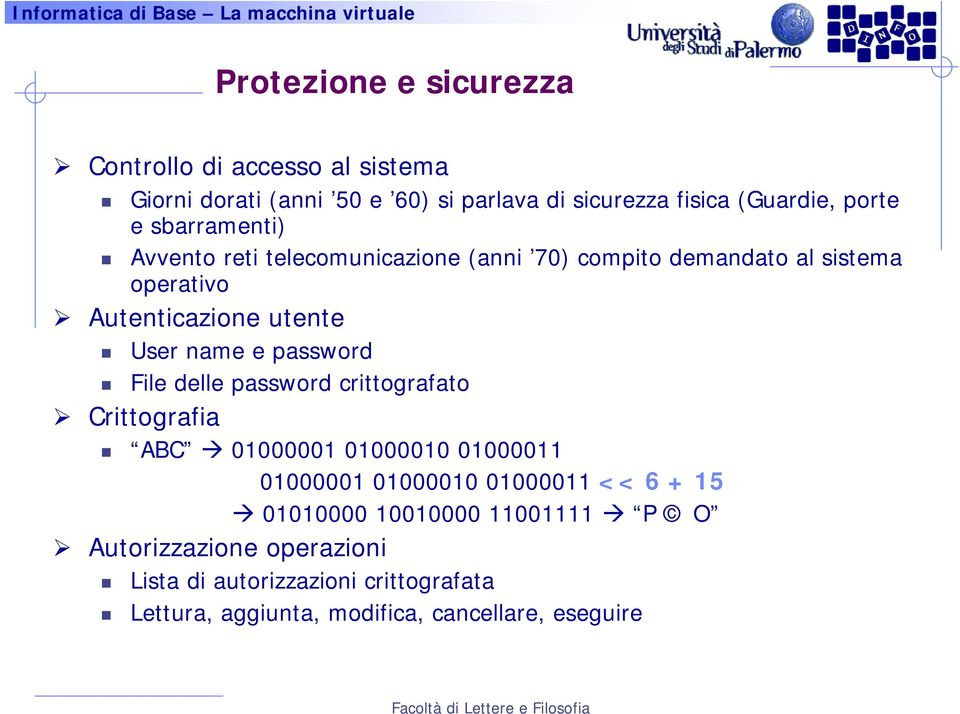 password File delle password crittografato Crittografia ABC 01000001 01000010 01000011 01000001 01000010 01000011 << 6 + 15