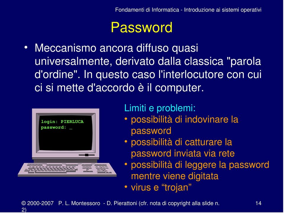 login: PIERLUCA password: _ Limiti e problemi: possibilità di indovinare la password possibilità